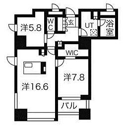 札幌市営東西線 大通駅 徒歩2分の賃貸マンション 15階1LDKの間取り