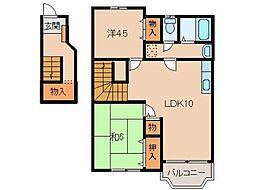 和歌山県橋本市御幸辻の賃貸アパートの間取り