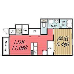 JR東金線 求名駅 徒歩26分の賃貸アパート 1階1LDKの間取り