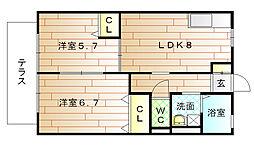 福岡県宗像市稲元7丁目の賃貸アパートの間取り