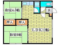 板倉マンション[2階]の間取り