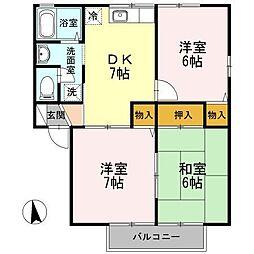 ロイヤルガーデン横尾 D[2階]の間取り