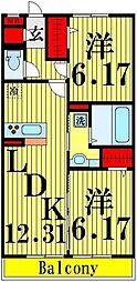 東京都足立区西加平2丁目の賃貸アパートの間取り