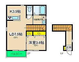 エルメゾン横濱[201号室]の間取り