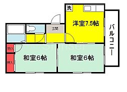 大阪府堺市東区白鷺町2丁の賃貸アパートの間取り