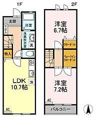 広島県福山市神辺町字道上の賃貸アパートの間取り