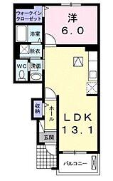 クレール聖徳[1階]の間取り
