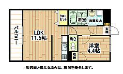 福岡県北九州市八幡西区陣山3丁目の賃貸マンションの間取り