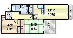 ウインザアベニュー塚口 3階2LDKの間取り