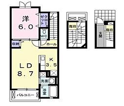 福岡県北九州市八幡西区木屋瀬2丁目の賃貸アパートの間取り