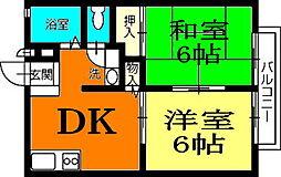 香川県高松市上福岡町の賃貸アパートの間取り