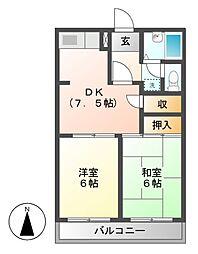 柿沢ハイツA[3階]の間取り