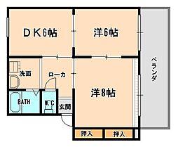 兵庫県伊丹市御願塚3丁目の賃貸アパートの間取り