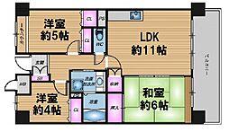 大阪府大阪市北区中之島6丁目の賃貸マンションの間取り
