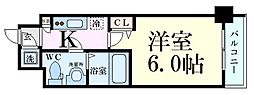 Osaka Metro谷町線 中崎町駅 徒歩7分の賃貸マンション 2階1Kの間取り