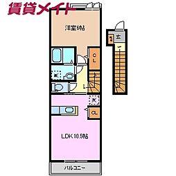 ミニヨン K II 2階1LDKの間取り