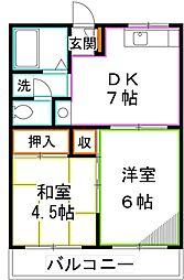 東京都国分寺市富士本1丁目の賃貸アパートの間取り