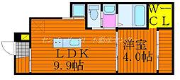 JR山陽本線 北長瀬駅 徒歩25分の賃貸アパート 1階1LDKの間取り