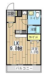 神奈川県大和市福田の賃貸マンションの間取り