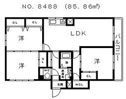 戎フルール谷九[8階]の間取り