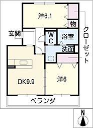 モンシャトー岐南[1階]の間取り