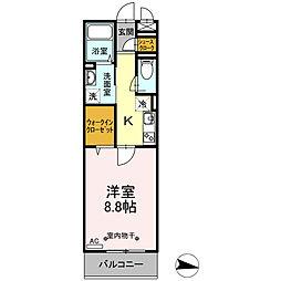 小田急江ノ島線 湘南台駅 徒歩5分の賃貸アパート 3階1Kの間取り