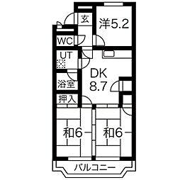 愛知県名古屋市名東区梅森坂2丁目の賃貸マンションの間取り