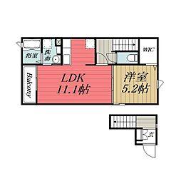 JR東金線 東金駅 徒歩14分の賃貸アパート 2階1LDKの間取り