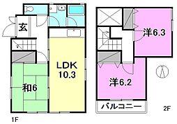 [一戸建] 愛媛県松山市今在家1丁目 の賃貸【愛媛県 / 松山市】の間取り