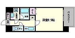 南海線 難波駅 徒歩6分の賃貸マンション 2階1Kの間取り