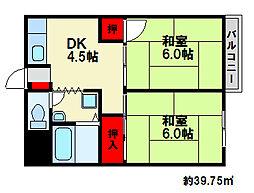 福岡県福岡市博多区西春町1丁目の賃貸アパートの間取り