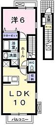 JR青梅線 小作駅 徒歩12分の賃貸アパート 2階1LDKの間取り