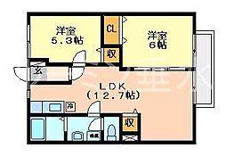 ビューハイツ横尾[1階]の間取り
