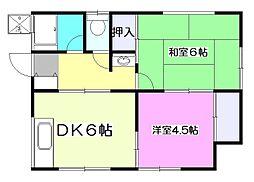 東京都小平市美園町3丁目の賃貸アパートの間取り