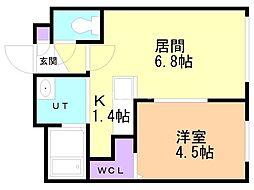 ブルーオーシャンS14W6 3階1LDKの間取り