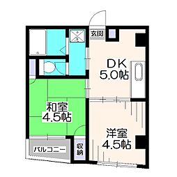 埼玉県新座市馬場3丁目の賃貸マンションの間取り