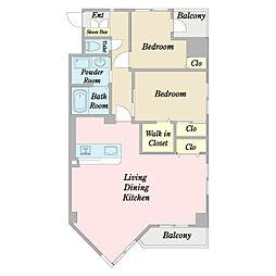 JR中央線 国立駅 徒歩3分の賃貸マンション 9階2LDKの間取り