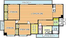ロイヤルキャッツ本城[5階]の間取り