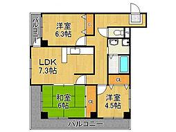 フルール南武庫之荘[5階]の間取り
