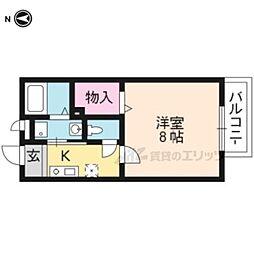京阪本線 伏見稲荷駅 徒歩6分の賃貸アパート 2階1Kの間取り