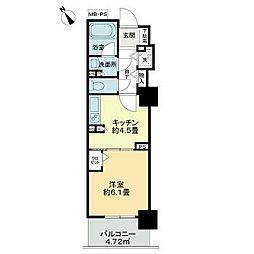 東京メトロ有楽町線 東池袋駅 徒歩8分の賃貸マンション 2階1Kの間取り
