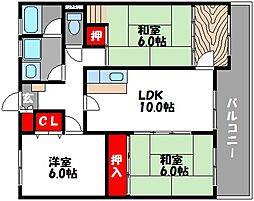 フローラ3[3階]の間取り