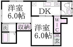 矢島荘[2階]の間取り