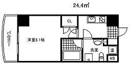クレストコート神戸・灘 2階1Kの間取り