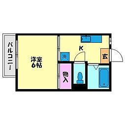 高良山コーポ[201号室]の間取り