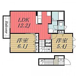 千葉県成田市久住中央1丁目の賃貸アパートの間取り