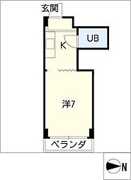 ベース浜田[5階]の間取り