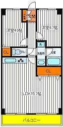 東京都日野市旭が丘3丁目の賃貸マンションの間取り