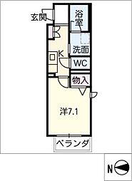 アトリエール 2階1Kの間取り