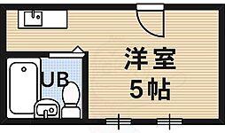 近江屋ハイツ 2階ワンルームの間取り